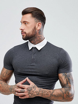 ASOS Muscle Rugby Polo Shirt In Charcoal Marl