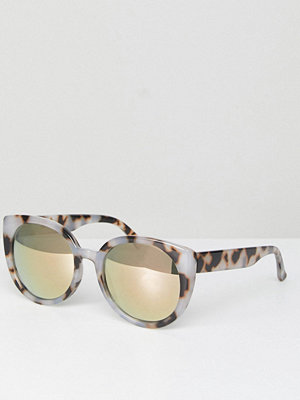 ASOS Chunky Round Sunglasses In Milky Tort and Flash Lens - Tortoise