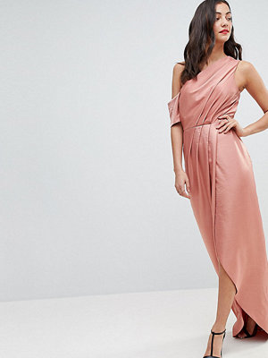 Asos Tall Hammered Satin One Shoulder Maxi Dress