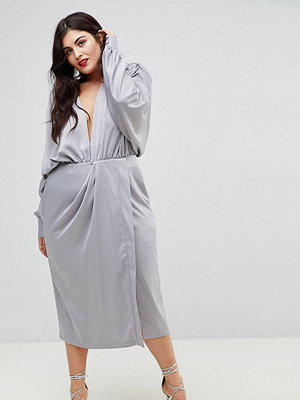 ASOS Curve Shoulder Pad Long Sleeve Selenia Midi Dress