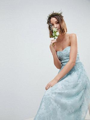 ASOS DESIGN Design Bridesmaid Delicate Lace Sheer Insert Bandeau Maxi Dress