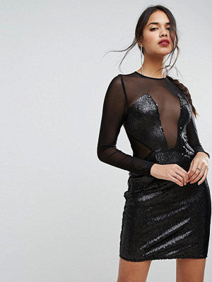 PrettyLittleThing Sequin Panelled Cut Out Dress - Black