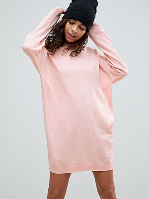 ASOS Petite Knitted Oversized Crew Neck Dress - Blush