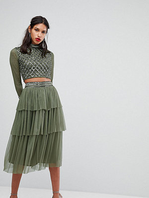 Lace and Beads Lace & Beads Embellished Skirt In Layered Tulle
