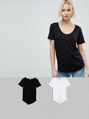 ASOS DESIGN T-shirt med rund halsringning och rundad fåll 2-pack SPARA Svart/vit