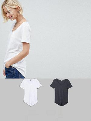 ASOS DESIGN T-shirt med rund halsringning och rundad fåll 2-pack SPARA Vit/mörkgrå