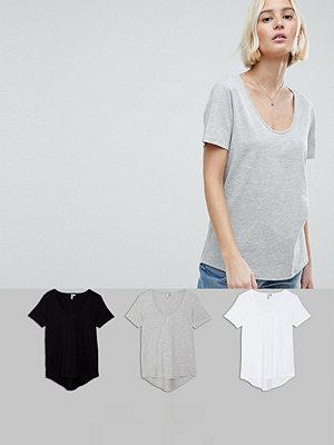 ASOS DESIGN T-shirt med rund halsringning och rundad fåll 3-pack SPARA Svart/vit/grå