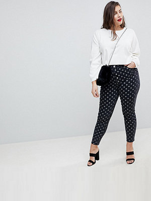 ASOS Curve RIDLEY High Waist Skinny Jeans In Polka Dot Print