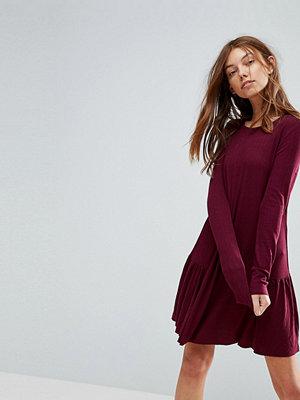 Pull&Bear Frill Hem Mini Dress - Burgundy
