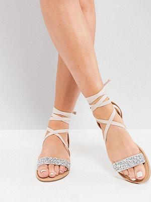 ASOS FI Wide Fit Embellished Flat Sandals