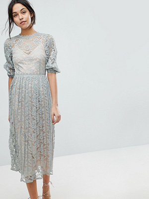 Little Mistress All Over Lace Maxi Dress With Balloon Sleeve Detail