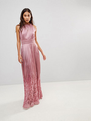 Little Mistress Ruffle High Neck Maxi Dress With Lace Pleated Skirt