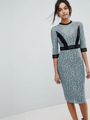 Little Mistress Lace Midi Pencil Dress With Contrast Panel