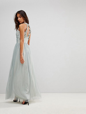 Little Mistress Wrapover Front Maxi Dress With Lace Applique Back Detail