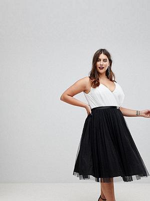 ASOS Curve PREMIUM Tulle Midi Prom Dress With Ribbon Ties