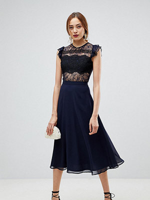 Asos Tall Lace Midi Dress with Lace Frill Sleeve