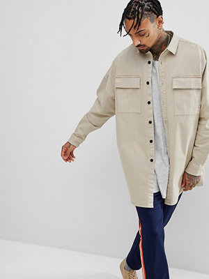 ASOS Oversized Longline Shirt With Double Pocket