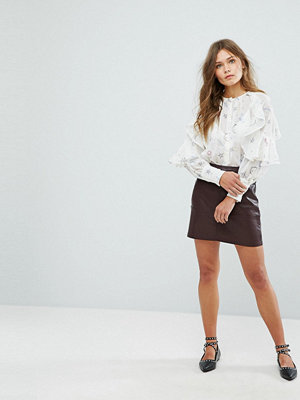 New Look Leather Look Mini Skirt - Dark burgundy