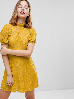 ASOS Petite Mini Lace Dress With Puff Sleeve - Mustard