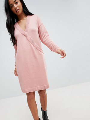 ASOS Petite Chunky Knitted Dress with Wrap Detail - Blush