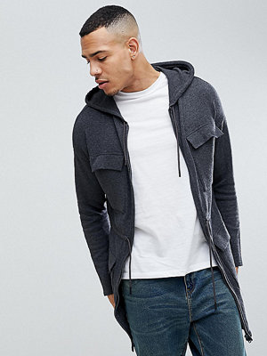 ASOS TALL Knitted Parka In Charcoal - Charcoal
