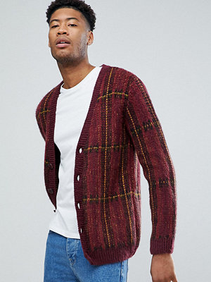 ASOS TALL Fluffy Oversized Cardigan In Burgundy Check - Burgundy