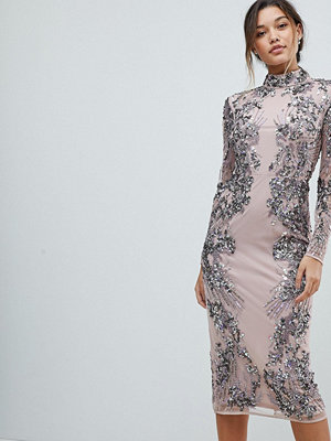 ASOS Edition Placed Scattered Sequin Midi Dress - Mink