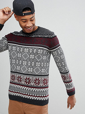 ASOS TALL Lambswool Fairisle Jumper In Charcoal - Charcoal