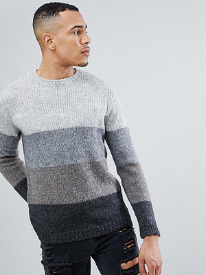 ASOS TALL Striped Jumper With Mohair Wool Blend In Black And Grey - Charcoal