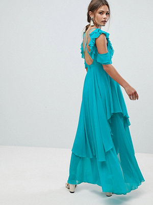 ASOS Ruffle Sleeve Cut Out Back Maxi Dress