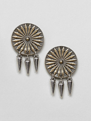 ASOS örhängen Engraved Disc and Spike Earrings