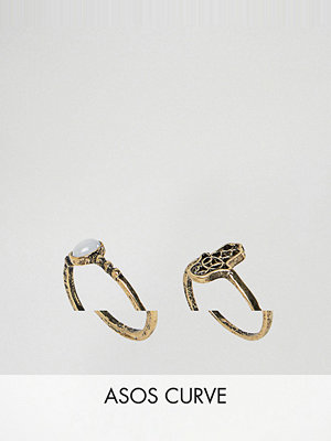 ASOS Curve Pack of 2 Hamsa Hand and Pretty Stone Rings - Burnished gold