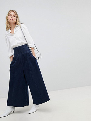 ASOS Wide Leg Jeans With Corset Waist Detail