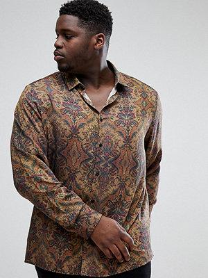 ASOS PLUS Regular Fit Vintage Print Shirt In Brown