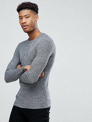 ASOS TALL Knitted Muscle Fit Rib Jumper In Black & White Twist - Black white twist