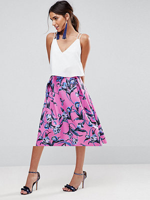 ASOS Scuba Midi Prom Skirt with Scallop Hem in Floral Print