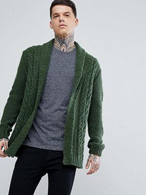 ASOS Fluffy Cable Knit Cardigan In Khaki - Khaki