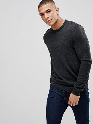 ASOS Crew Neck Jumper In Charcoal - Charcoal