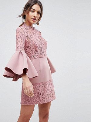 ASOS Lace Fluted Sleeve Scuba Skater Mini Dress - Rose
