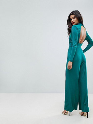 ASOS Jumpsuit with Wrap Cut Out and Wide Leg in Jersey