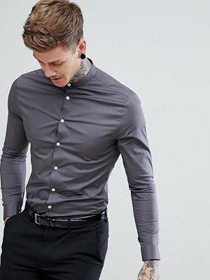 ASOS Skinny Shirt with Grandad Collar in Charcoal