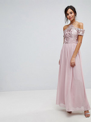 Chi Chi London Halter Maxi With Off Shoulder Lace Detail - Taupe
