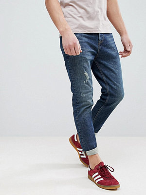 ASOS Tapered Jeans In 17oz Vintage Dark Wash With Abrasions