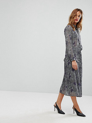 Warehouse Floral Print and Check Midi Skirt - Grey check