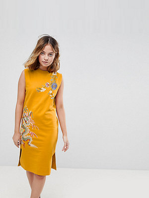 ASOS Petite Sleeveless Sweat Dress With Embroidery - Mustard