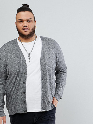 ASOS PLUS Cotton Cardigan In Grey Twist - Black and white