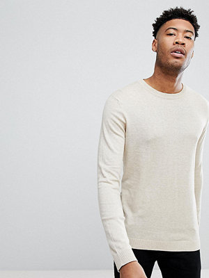 ASOS TALL Crew Neck Cotton Jumper In Oatmeal - Oatmeal