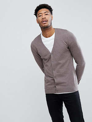 ASOS TALL Cotton Cardigan In Brown - Slate stone