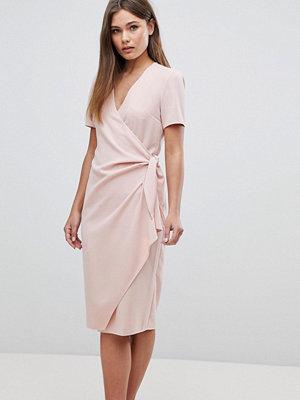 ASOS Clean Wrap Tie Midi Dress - Blush
