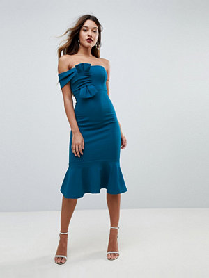 ASOS Crepe Bandeau Bow Front Midi Bodycon Dress - Teal